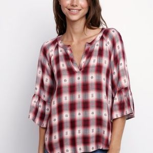 Bb dakota plaid woven notch neck bell sleeve top